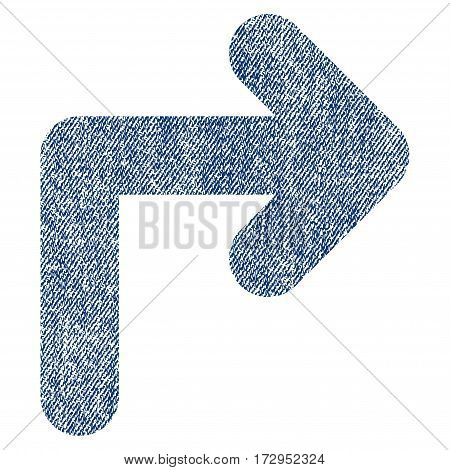 Turn Right vector textured icon for overlay watermark stamps. Blue jeans fabric vectorized texture. Symbol with scratched design. Blue ink rubber seal stamp with fiber textile structure.