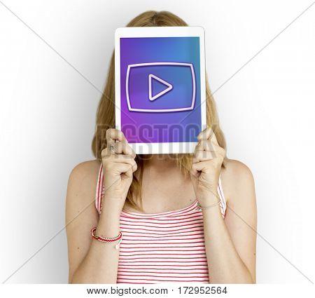Multimedia Entertainment Play Button Interface