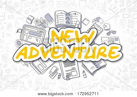 New Adventure Doodle Illustration of Yellow Text and Stationery Surrounded by Cartoon Icons. Business Concept for Web Banners and Printed Materials.