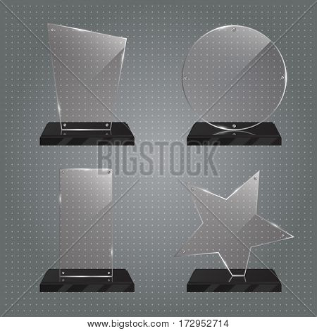 Set of realistic transparent glass trophy awards standing on black base and isolated on gradient background. Different shapes provided. Star, rectangle, round, polygon. Vector illustration.