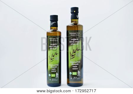 Athens, Greece - February 22, 2017: Two Bottles Of Organic Extra Virgin Olive Oil Kolympari S.a.
