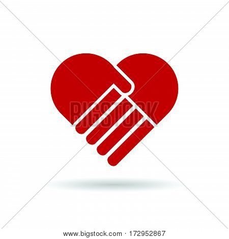 Heart With Hands In Red Color Illustration