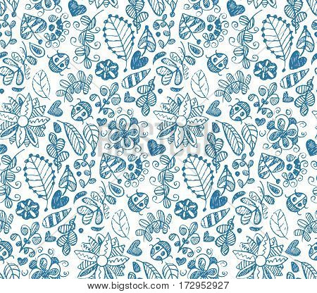 Hand drawn floral seamless summer pattern with flowers, hearts, ladybug etc.