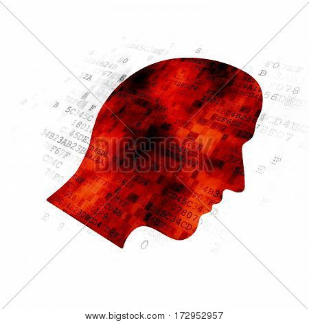 Information concept: Pixelated red Head icon on Digital background