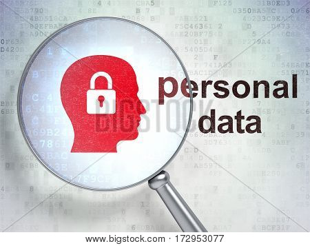 Information concept: magnifying optical glass with Head With Padlock icon and Personal Data word on digital background, 3D rendering