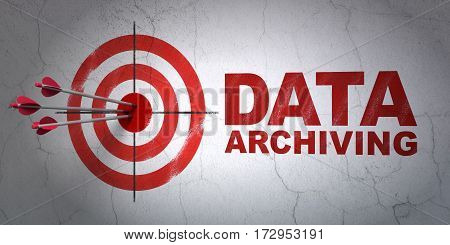 Success Information concept: arrows hitting the center of target, Red Data Archiving on wall background, 3D rendering