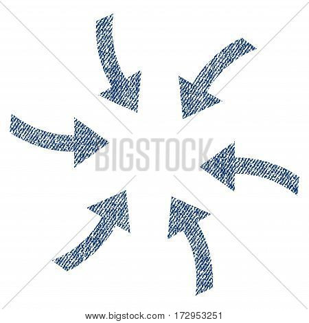 Twirl Arrows vector textured icon for overlay watermark stamps. Blue jeans fabric vectorized texture. Symbol with dirty design. Blue ink rubber seal stamp with fiber textile structure.