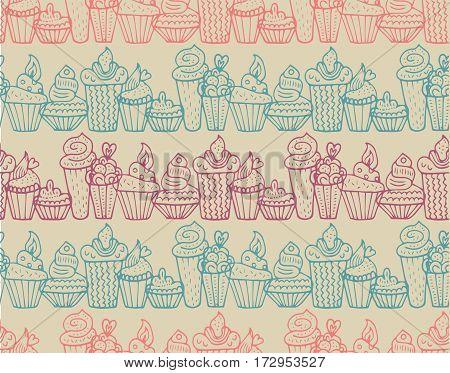 Cute cupcakes seamless pattern in vector. Cake background. Cake vector. Cake dessert sketch.