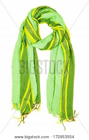 Green Silk Scarf Isolated On White Background.