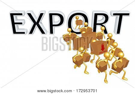 Export Trade Concept With The Original 3D Characters Illustration