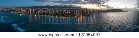 Aerial panoramic stock image Waikiki Hawaii Beach