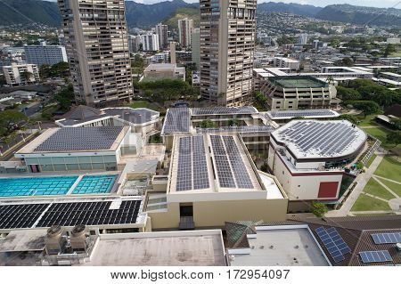 Solar power roof panels stock photo aerial