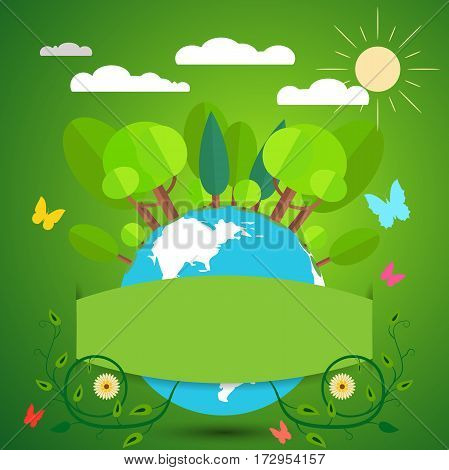Illustration with a globe, sun, forest, rain clouds, bush on a green background.
