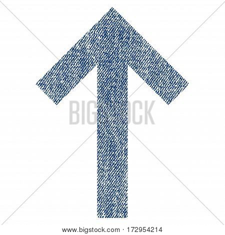 Up Arrow vector textured icon for overlay watermark stamps. Blue jeans fabric vectorized texture. Symbol with unclean design. Blue ink rubber seal stamp with fiber textile structure.