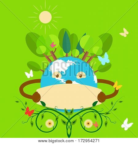 Illustration for holiday of globe, forest, sun, bush on a green background.