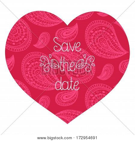 Wedding romantic invitation card with hand drawn paisley heart. Save the Date invitation in vector