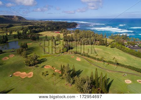 Aerial image of a golf course in Hawaii