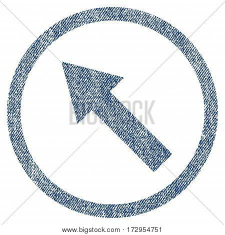 Up-Left Rounded Arrow vector textured icon for overlay watermark stamps. Blue jeans fabric vectorized texture. Symbol with dirty design. Blue ink rubber seal stamp with fiber textile structure.