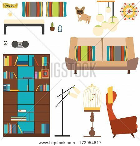 Set of room objects in the style of 70s with bookcase sofa armchair floor lamp dog parrot.