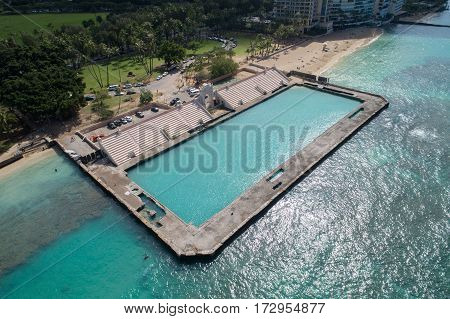 Aerial image of the Waikiki Natatorium War Memorial