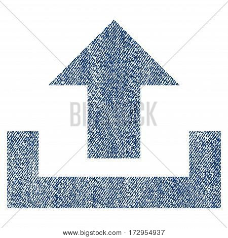Upload vector textured icon for overlay watermark stamps. Blue jeans fabric vectorized texture. Symbol with dust design. Blue ink rubber seal stamp with fiber textile structure.