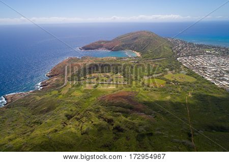 Aerial image of Hawaii Oahu landscape plush green