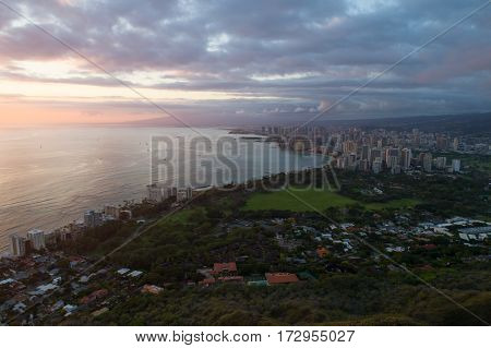 Aerial photo of a majestic sunset in Hawaii