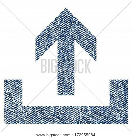 Upload vector textured icon for overlay watermark stamps. Blue jeans fabric vectorized texture. Symbol with unclean design. Blue ink rubber seal stamp with fiber textile structure.