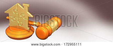 Home Puzzle Law Legal Gavel Concept 3D Illustration