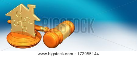 Home Puzzle Law Legal Gavel Concept 3D Illustration