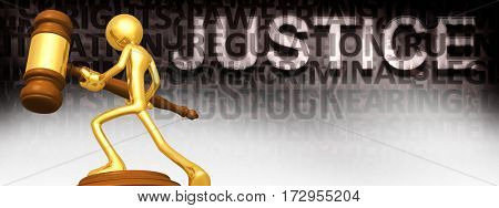 Justice Legal Gavel Concept With The Original 3D Character Illustration