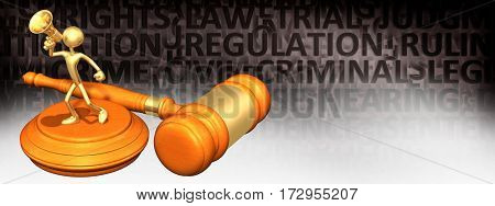 Law Legal Gavel Concept With The Original 3D Character Illustration On A Megaphone
