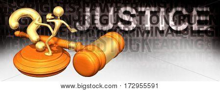 Justice Question Legal Gavel Concept 3D Illustration