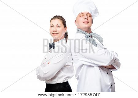 Confident Waitress And Chef On White Background Portrait In Uniform