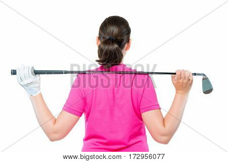 Back Is Athletes With Equipment For Playing Golf On A White Background