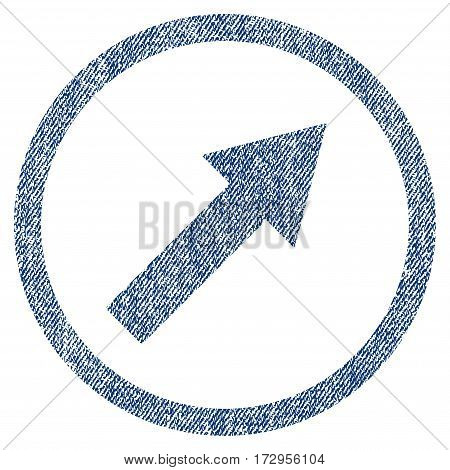 Up-Right Rounded Arrow vector textured icon for overlay watermark stamps. Blue jeans fabric vectorized texture. Symbol with dust design. Blue ink rubber seal stamp with fiber textile structure.
