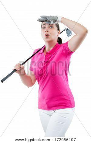 Athlete Woman Watching The Ball Flight Path Of Golf On A White Background