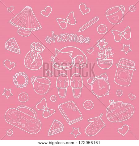 Sweet Home set of vector design home elements with cute cat, cups of coffee, cake, jam, sneakers, alarm clocks, bows, hearts, stars, pencil, tape recorder and diary