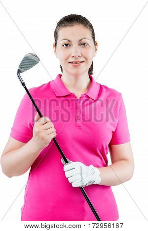 Vertical Portrait In The Studio A Woman Golfer On A White Background