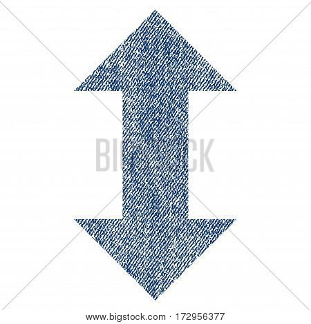 Vertical Exchange Arrows vector textured icon for overlay watermark stamps. Blue jeans fabric vectorized texture. Symbol with unclean design. Blue ink rubber seal stamp with fiber textile structure.