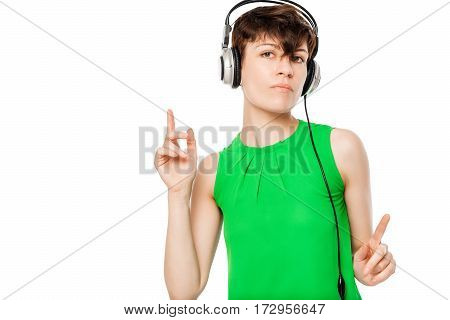 Music Fan Listens To Music And Dancing On A White Background