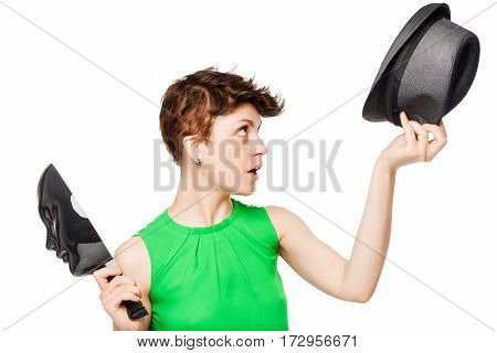 The Stranger Removed Her Hat And Mask On A White Background