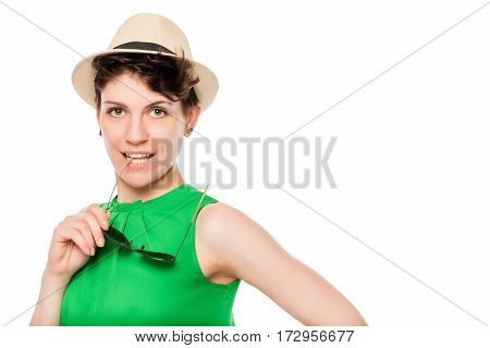 Young Slim Woman With Stylish Accessories On A White Background