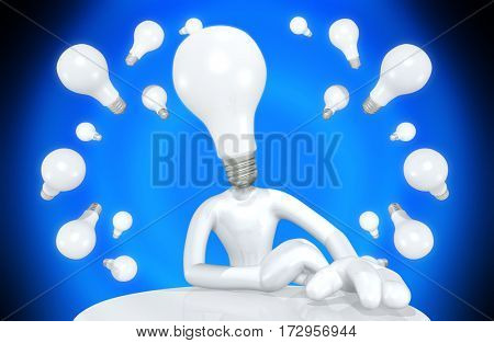Light Bulb Head The Original 3D Character Illustration