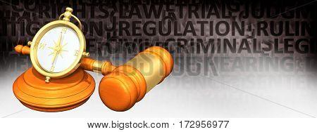 Compass Legal Gavel Concept 3D Illustration