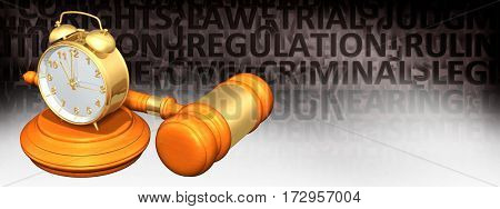 Clock Legal Gavel Concept 3D Illustration
