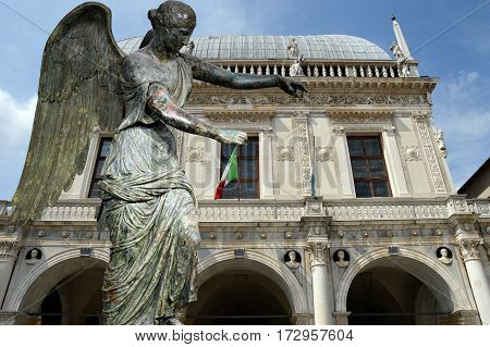 Winged Victory and the Loggia of Brescia - Lombardy - Italy