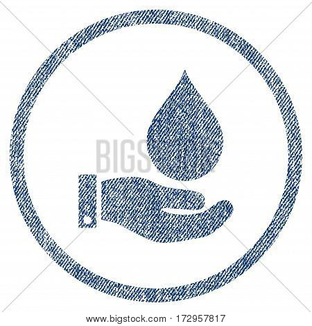 Water Service vector textured icon for overlay watermark stamps. Blue jeans fabric vectorized texture. Symbol with dust design. Blue ink rubber seal stamp with fiber textile structure.