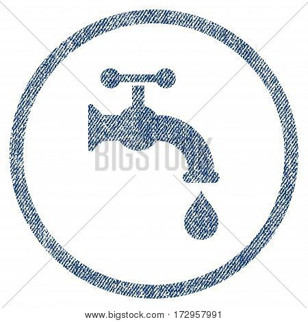 Water Tap vector textured icon for overlay watermark stamps. Blue jeans fabric vectorized texture. Symbol with scratched design. Blue ink rubber seal stamp with fiber textile structure.