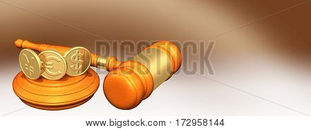Currency Coins Legal Gavel Concept 3D Illustration